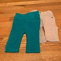 2 Pairs of Girls Baby Gap Pants 0-3 Months (Light Grey Velour & Teal Corduroy) Photo