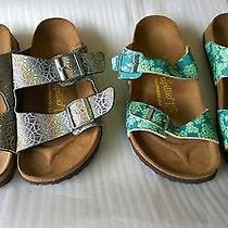 2 Pairs of Papillio by Birkenstocks Made in Germany High End Sandals Colorful Photo