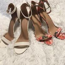 2 Pairs - Pink Tropical Floral & White-Heel Sandal Pump-Strappy-Womens Size 10 Photo