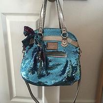 2 Pc   Coach Poppy Sequin Hobo Shoulder Bag 16303 Chambray Blue Sequins Rare Euc Photo