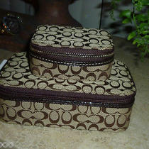 2 Pc Coach Signature Khaki Mahogany Jacquard Jewelry Box & Triple Pill Box Nwt Photo