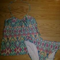 2 Pc Kenneth Cole Reaction Womens Tankin Swimsuit Size L Xl Photo