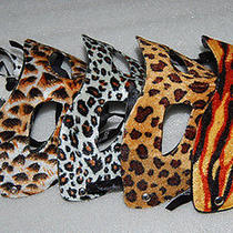 2 Pc Mardi Gras Masquerade Party Fantasy Masks Weddings Ladies Leopard High-End Photo