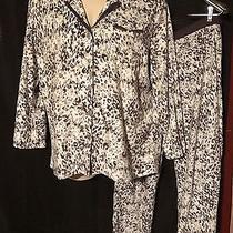 2 Pc Set Anne Klein Women's Cheetah Night Shirt W/ Pajama Pants L Photo