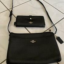 2 Pc Set Coach Womens Black Full Grain Leather Crossbody Purse Handbag  Wallet Photo