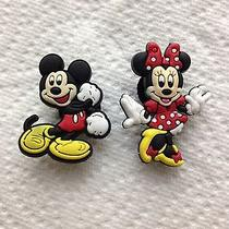 2 Pcs Dancing Mickey & Minnie Shoe Charms Fits Crocs 2 Pc Mickey & Minnie Mouse  Photo
