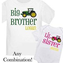 2 Personalized Big Brother Lil Sister Tractor T-Shirt Any Size / Your Name New Photo