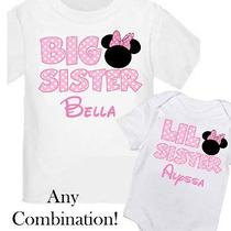 2 Personalized Big Sister Little Minnie Mouse Shirt T-Shirt Your Name New Photo