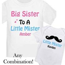 2 Personalized Big Sister Mustache Kids Shirt T-Shirt Any Size / Your Name New Photo