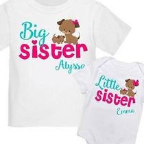 2 Personalized Big Sister Puppy Dog Little Sis T-Shirt Any Size / Your Name New Photo