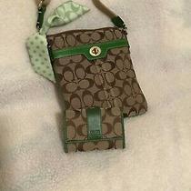 2 Piece Coach Set Khaki Signature C/ Green Leather Swing Pack & Wallet....euc Photo