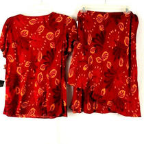 2 Piece Outfit Karin Stevens 8 Skirt Top Ladies Red Floral Short Sleeve Nwt Photo