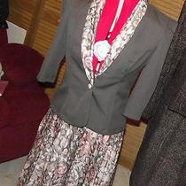 2 Piece Skirt & Jacket W/dickie Set Classic Apparel Sz 6p  Brown Flower Euc Photo