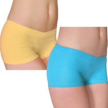 2 Pieces Seamless Aqua Blue and Yellow Boy Shorts Set S/m- Brand New  Photo