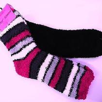 2 Pr Betsey Johnson Ladies Slipper Socks Stripe Pink Grey Black / Solid - New Photo