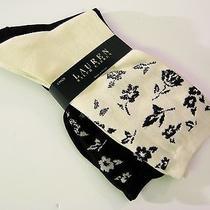 2 Pr Ralph Lauren Ladies Socks Crew Floral Border Natural / Black - New Photo