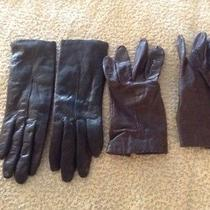 2 Prs Ladies Leather Gloves Black W/ Thinsulate & Charisma Brown M Photo