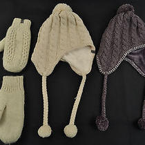 2 Set the North Face Cable Knit Mittens Trapper Hat Beanie Purple Cream Lot  Photo