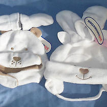 2 Sets of Infant Baby Toddler Hat & Mitten Sets Teddy Bear Lamb Head Face Hands Photo