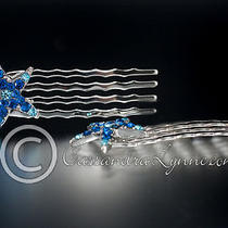 2 Silver Aqua & Capri Crystal Starfish Mini Hair Comb Wedding Bridal Beach Prom Photo