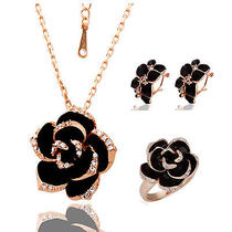 2 Style Fashion 18k Rose Gold/white Plated Black Rose Earringringnecklace Sets Photo