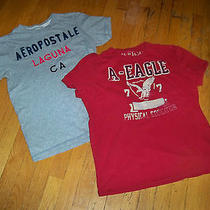 2 T-Shirts Red American Eagle/grey Aeropostale   Med/lrg Photo