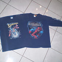 2 T-Shirts Superman & Spiderman Webslinger 2 Sz 10- 12 Marvel & Columbia Picture Photo
