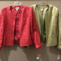 2 Talbots Blazer Jacket Cost Irish Linen Nwt Size 6 Pink / Green Photo