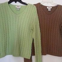 2talbots v Neck Cableknit Sweaters Cotton  Women's Size S Smalltan Green Euc Photo