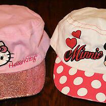 2 Toddler Girl's Hats Baseball Caps Hello Kitty Minnie Mouse Sanrio Disney  Photo