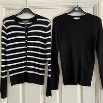 2 Tops h&m Ladies Black Ribbed Jumper  Primark Striped Cardigan Size Small S/xs Photo