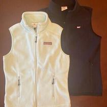 2 Vineyard Vines Fleece Full Zip Vests Xxs/xs Mint and Navy Photo