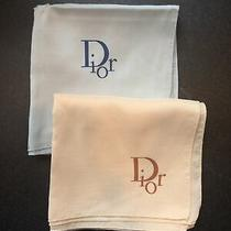2 Vintage Dior Silk Scarves Blue & Beige/blush Made in France Photo