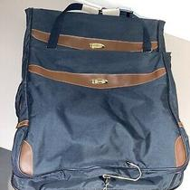 (2) Vintage Express Large Luggage/travel Bags - Zippers - Dark Blue Photo