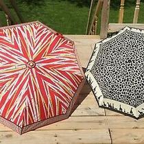 2 Vintage Umbrellas 1- Avon Zebras and Print 1- Bamboo Print and Handle Photo