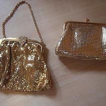 2 Vintage Whiting & Davis Purses Gold Mesh Chain Evening 2856 & Change Purse Photo