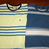 2 Volcom T-Shirts - Yellow  Blue - Striped Shirt  M Medium O Element Hurley Photo