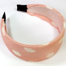 2'' White Dot Light Pink Fabric Korean Style Fashion Fancy Ladies Hair Headband Photo