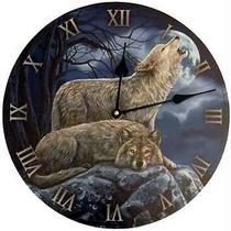 2 Wolves Clock 11 1/2