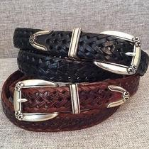 2 Woman's Western Fossil Brand Brown Black Braided / Woven Leather Belts Large Photo