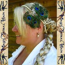 2 X Peacock Feather Hair Jewelry Wedding Fascinator Boho Steampunk Bridesmaids Photo