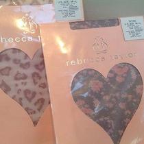 2 X. Rebecca Taylor 7971495 Black Floral  7971496 Pink Animal Sheer Tights M/l Photo