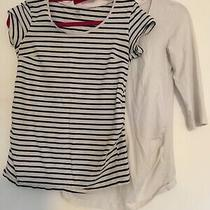 2 X Size M Maternity Tops With Stretch From h&m - Plain 3/4 Sleeves and a Stripe Photo