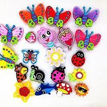 20 Butterfly Dragonfly Ladybug Flowers Charms Fits Jibbitz Croc Shoes & Bracelet Photo