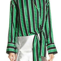 200 Robert Rodriguez Tie Waist Stripe Blouse Top Size 2 Photo