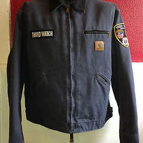 2001 Carhartt Lined Denim Third Watch Nyc Jacket Zipper Coat Xl Tv Show Gray  Photo