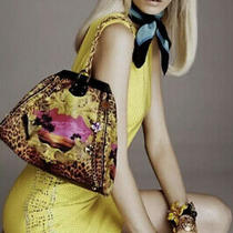 2011 Versace for h&m Yellow Gold Studded Silk Dress - Us 2 Mint Photo