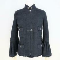 2013 Chanel P45128 Midnight Blue/black Tweed Zip-Up Jacket Bell Sleeves/  Sz 40 Photo