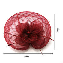 2013 New Fancy Wine Floral Feather Veil Hat Fascinator Clip Head Piece Headpiece Photo