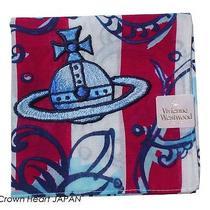 2013new Vivienne Westwood Handkerchief / Mini Scarf Flower Red Stripe Orb Blue Photo